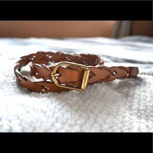 Brown Braided Belt with Gold Bucket